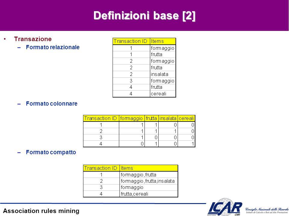 Definizioni base [2] Transazione Formato relazionale Formato colonnare